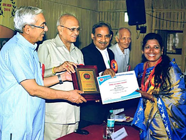 2016 Honors Ceremony in Delhi; Mrs. Hilda receiving the Jewel of India and National Mahila Rattan gold Medal Awards.